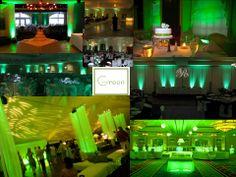 #Green #wedding theme ideas #uplighting #RentMyWedding #receptionideas