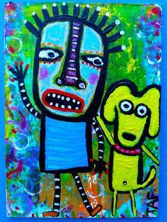 Tracey Ann Finley Original Outsider Raw Folk ACEO Painting YELLOW DOG & Boy  #OutsiderArt