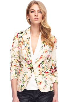 ROMWE | Lapel Floral Print Blazer, The Latest Street Fashion