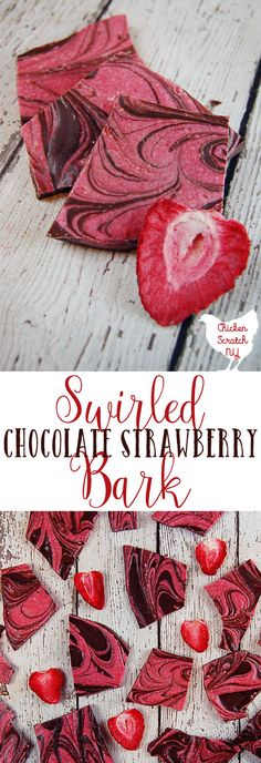 Forget hunting down a ripe strawberry in February, get the sweet strawberry and chocolate flavor combo in this Swirled Chocolate Strawberry Bark. It comes together quickly with 3 ingredients and a microwave so you can get back to smooching your sweetheart ASAP! #dessert #valentinesday #chocolate #pinkdessert #strawberry