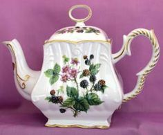 Blackberries 8 Cup Square Porcelain Teapot