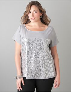 Full Figure Animal Sequin Tee | Lane Bryant