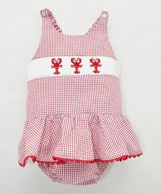 Love this Red & White Lobster Smocked Swimsuit - Infant, Toddler & Girls on #zulily! #zulilyfinds