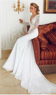 Long Sleeve Wedding Dresses by Berta Bridal Deep V Neck Lace Bodice Gold Beaded Waist Fitted Wedding Gowns #weddinggowns
