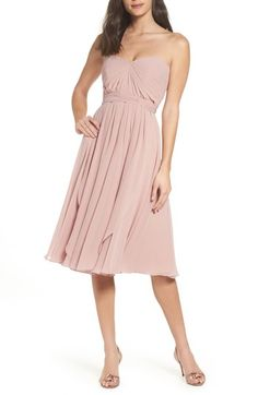 Free shipping and returns on Jenny Yoo Emmie Convertible Chiffon Tea-Length Dress at Nordstrom.com. A tea-length dress makes a romantic statement in flowy chiffon with a pleated sweetheart bodice and a flirty full skirt. Four panels attached at the waist can be wrapped and tied to create a variety of different looks.