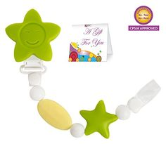 Pacifier Clip Teether Toy  Baby Girl or Boy Star Beaded Silicone Teething Toy and Pacifier Clip  Green White Color  Greeting Card Included for Baby Gifts * For more information, visit image link.-It is an affiliate link to Amazon.