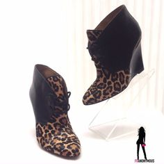 "NWOB Coach Black Leather Leopard Haircalf Wedges 5 Stunning elegant new without box Coach black leather and leopard design haircalf tie front wedges. All leather construction. Size 5. 5"" heel. Coach Shoes"