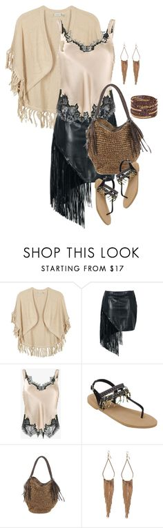 """beige fringe"" by stormysmom ❤ liked on Polyvore featuring Kinross, Helmut Lang and Chan Luu"