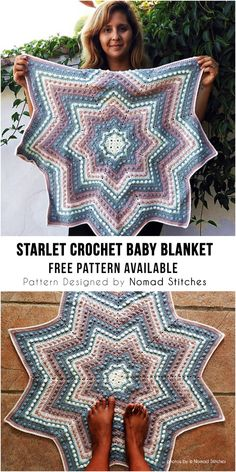 The Starlet Blanket is a free beginner-friendly crochet pattern. Crochet Star Blanket, Star Baby Blanket, Crochet Baby Blanket Free Pattern, Crochet Stars, Afghan Crochet Patterns, Love Crochet, Crochet Gifts, Crochet For Kids, Diy Crochet
