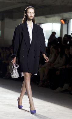 Oversized coat with beautiful purple shoes - Dries Van Noten 2010.