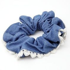 Hair Accessories Jewelry Handmade Denim Fabric Heart Lace Line Hair Holder Scrunchie - Scrunchies, Hair Accessories For Women, Fashion Accessories, Hair Scarf Styles, Fru Fru, Twist Headband, Elastic Headbands, Womens Fashion Online, Denim Fabric