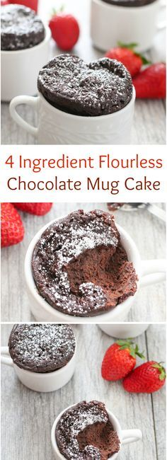 4 Ingredient Flourless Chocolate Mug Cake. So easy and perfect for Valentine's Day!                                                                                                                                                                                 More