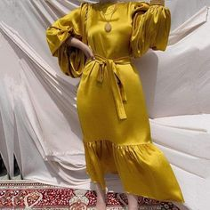 Unique Dresses, Beautiful Dresses, Satin Dresses, Blue Dresses, Modest Fashion, Fashion Outfits, Types Of Skirts, Tiered Dress, Yellow Dress