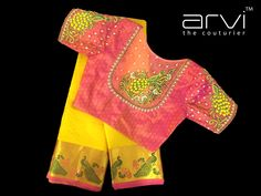 Shopzters is a South Indian wedding site Simple Blouse Designs, Stylish Blouse Design, Designer Blouse Patterns, Fancy Blouse Designs, Blouse Neck Designs, Dress Patterns, Mirror Work Blouse Design, Blouse Designs Catalogue, Maggam Work Designs