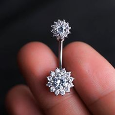 Flower Zircon Belly Ring Belly Button Piercing flower belly rings Navel Piercing