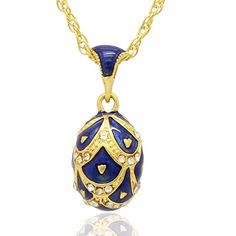 Amazon.com: MYD Jewelry Hand Enameled Pretty Russian Faberge Style Crystal Easter Egg Pendant Necklace (Black): Jewelry