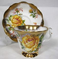 Beautiful Royal Albert Bone China Cup Saucer Yellow Roses Gold Gilt