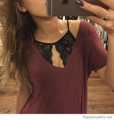 Burgundy tee and black lace bra