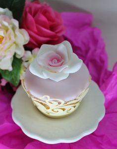 White Rose Cupcake by Violeta Glace