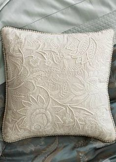 Boasting thickly detailed crewelwork stitches, Frenchknotting, and a brocade trim, the Linwood Decorative Throw Pillow will bring elegance and sophistication to your seating space.