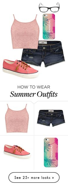 """""""Outfit #883"""" by mbvs on Polyvore featuring Hollister Co., Boohoo, Sperry, Ray-Ban and Casetify"""