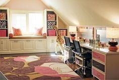 fantastisches mädchenzimmer rosa braun schminktische