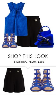 """""""Jimmy Choo Blue Suede Ren Sandals"""" by bodangela ❤ liked on Polyvore featuring Proenza Schouler, Jimmy Choo and N°21"""
