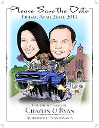 Illustrate the Date - Save the Date Wedding Invitations Caricature Cartoon