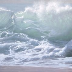 Turbulent Tidal Waves Dance With Power In Realistic Paintings Artist Paco Ferrando creates stunningly realistic wave paintings, tumbling along sunlight golden beaches. [[MORE]]The blue waves foaming. Water Waves, Sea Waves, Sea And Ocean, Ocean Beach, Wave Dance, Seascape Paintings, Ocean Art, Oeuvre D'art, Amazing Nature