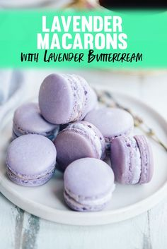 Lavender French Macarons Recipe with Lavender Buttercream Frosting Filling A recipe for perfect lavender macarons with a fragrant lavender buttercream filling. The buttercream frosting also works great for cupcakes and cakes! Macaroon Filling, Macaroon Cookies, French Macaron Filling, Macarons Filling Recipe, French Macaroon Recipes, French Macaroons, Best Macaroon Recipe, Macron Recipe, Lavender Macarons