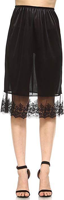 Melody Long Satin Half Slip Skirt Extender- Underskirt Skirt, Dress Extender for lengthening and Layering (Medium_Longer, White) at Amazon Women's Clothing store: