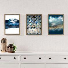 Obraz Impression 30x40cm gold&navy    #obraz#trojuholniky#abstraktny#obyvacka#kuchyna#jedalen#detskeizba Gold, House Design, Cabinet, Storage, Interior, Inspiration, Furniture, Geometric Painting, Navy