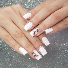 French Nails, Nail Arts, Beautiful Hands, Nail Designs, Hair Beauty, Caviar, Nail Art Designs, White Nails, Bling Nails