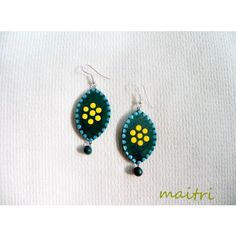 Blue Flower_Contemporary Terracotta earrings    maitri_crafts@yahoo.com