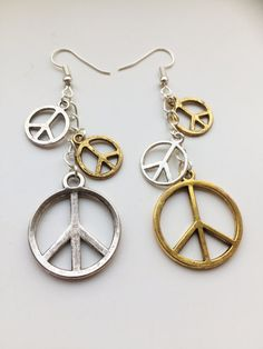 Steampunk inspired Peace Symbol Hippy Gold Silver coloured