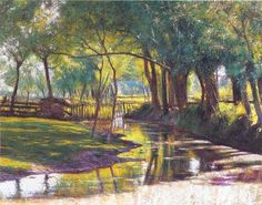 Green Landscape with a Stream by Wladyslaw Podkowinski, 1891 Green Landscape, Landscape Art, Landscape Paintings, French Impressionist Painters, Oil Pastel Art, Old Paintings, Beautiful Artwork, All Art, Painting Inspiration