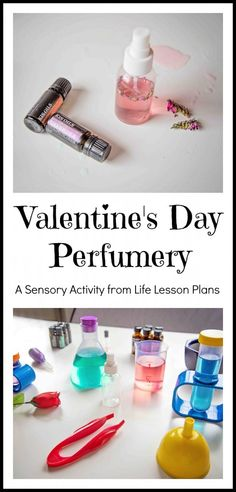 Valentine's Day Perfumery - Life Lesson Plans - use essential oils plus dried flowers and other elements from nature