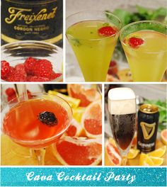 Cava Cockail Party #champagne #cocktails #ideas Cocktails For Parties, Fun Drinks, Beverages, Cocktail Ideas, Cocktail Recipes, 40th Birthday, Birthday Ideas, Champagne Party, Beauty Tutorials