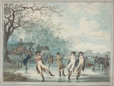 Skaters on the Serpentine in Hyde Park by Julius Caesar Ibbitson (1786)