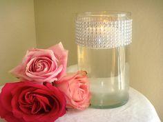 Set of 10 Silver Rhinestone Wrap Glass Cylinder Vases by ModMV, $50.00