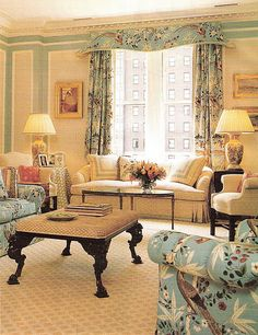 Love the pagoda cornice in this pretty living room. The colors and patterns are so beautiful. Elegant