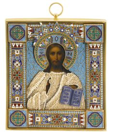 A silver-gilt and cloisonné enamel icon of Christ Pantocrator, Ovchinnikov, Moscow, 1899-1908 | Lot | Sotheby's