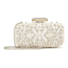 Oscar de la Renta Embroidered Linen Goa Clutch ($1,590) ❤ liked on Polyvore featuring bags, handbags, clutches, polka dot handbags, white clutches, embroidered clutches, white handbags and chain strap purse