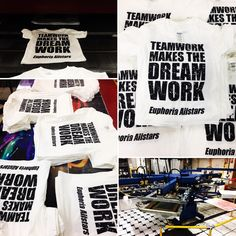 Here is a few images of our last 100 t-shirt competition winners items being printed! Next giveaway will run 14th-28th Feb! #tshirts #screenprinting #cheerleading
