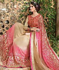 Buy Beige Georgette Party Wear Saree 72259 with blouse online at lowest price from vast collection of sarees at Indianclothstore.com.