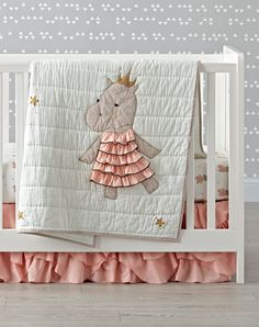 Shop Royal Hippo Crib Bedding. The regal hippos on this charming crib bedding don't require you to bow or curtsy. They just ask that you add them to any nursery for a fun, playful touch.