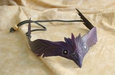 Purple and Black Leather Raven Cosplay Circlet by PlatyMorph