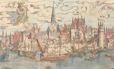 The wharf in a sixteenth-century painting of the Scheldt quays