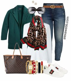 Plus Size Gucci Scarf Outfit Ideas - Jeans, Gucci Belt, Green Blazer, White T-Shirt, Gucci Sneakers - Alexa Webb - Plus Size Fashion for Women - #alexawebb #plussize