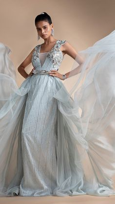 Powder Blue Gown In Embellished Net With Detachable Trail Online - Kalki Fashion Powder Blue Gown, Net Gowns, Silver Falls, Bugle Beads, Skyfall, Color Stories, Baby Blue, Weave, Blues